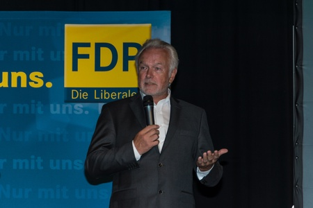 The famous FDP politician and parliamentary candidate Wolfgang Kubicki during an election campaign meeting of the FDP in Kiel in the Hall