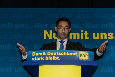 Dr. Philipp Roesler, Vice-Chancellor and Federal Minister of Economics during an election campaign meeting of the FDP in Kiel in the Hall