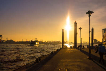 Sunshine at River Elbe in Hamburg-Altona