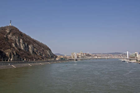 Erzsebet Bridge and the Liberty Statue on Gellert hill across the river Danube in Budapest Hungary