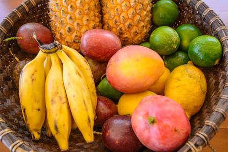 Platter of tropical fruits, la Reunion island