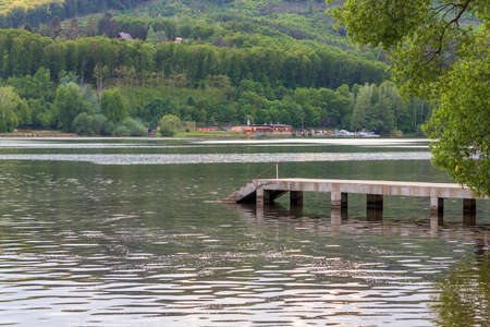 Brno Dam in Czech Republic - Europe. You can see the concrete pier into the water.