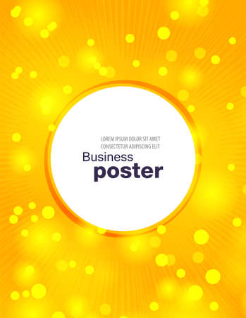 Illustration for Stylish yellow poster with rays, bubbles and a button in the middle. Design layout template. - Royalty Free Image