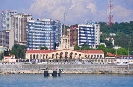 Marine Station and new buildings. Sochi. Russia