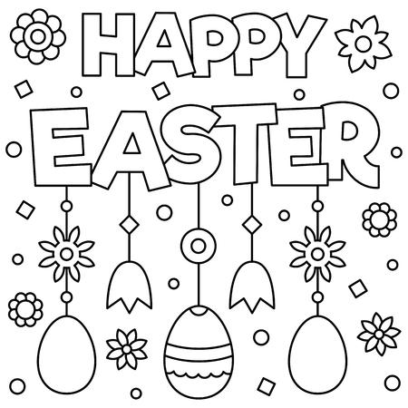 Ilustración de Happy Easter. Coloring page. Vector illustration. - Imagen libre de derechos