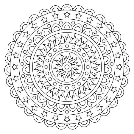 Illustration pour Coloring page. Black and white vector illustration of mandala - image libre de droit
