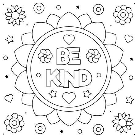 Vektor für Be kind. Coloring page. Black and white vector illustration. - Lizenzfreies Bild