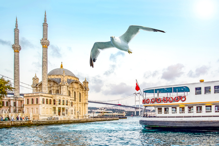 Foto de Ortakoy mosque and Bosphorus bridge, Istanbul, Turkey. - Imagen libre de derechos