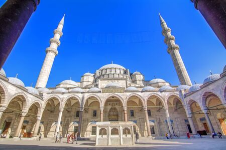 ISTANBUL TURKEY - June 15, 2019: Suleymaniye mosque The Suleymaniye Mosque is an Ottoman imperial mosque located on the Third Hill of Istanbul, Turkey.