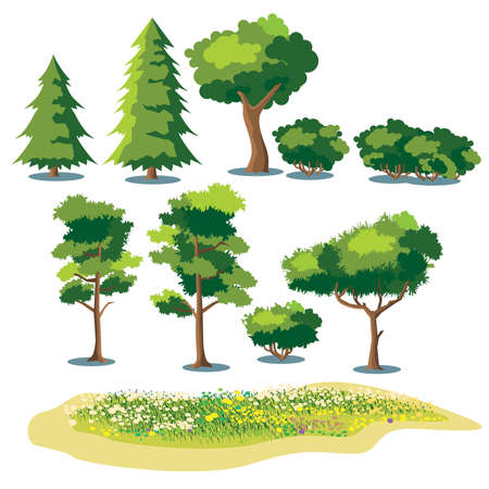 set of stylized vector plants. shrubs, trees and fields with grass and blooming flowers