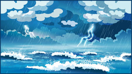 Illustration pour Stylized vector illustration of an ocean during a storm - image libre de droit