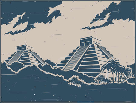 Illustration pour Stylized vector illustration of ancient Mayan pyramids in the jungle in retro poster style - image libre de droit