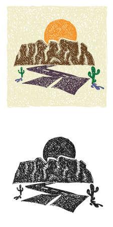 Illustration pour Hand-drawn stylized canyon, road and sunset - image libre de droit
