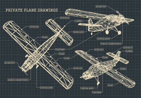 Illustration for Stylized illustration of drawings of a light private plane - Royalty Free Image