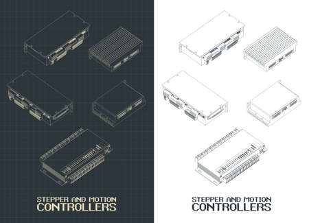 Illustration pour Stylized vector illustration on thame of Automated process control systems, stepper and motion controllers for production - image libre de droit
