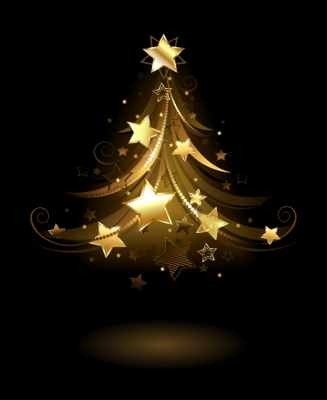 artistically painted golden spruce, decorated with gold stars on a black background.