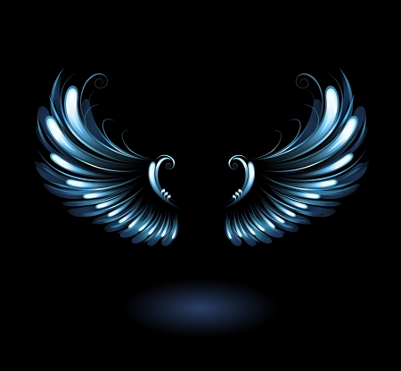 glowing, stylized angel wings on a black background.