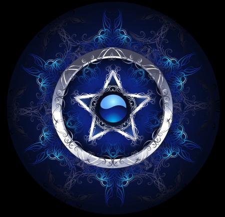 Illustration pour mystical, blue, patterned silver star on a black background.  - image libre de droit