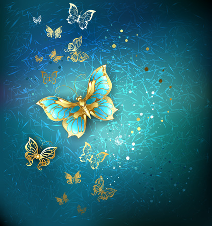 luxury gold butterflies on a blue textural background.