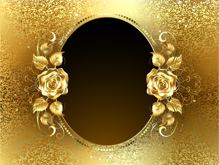 Oval banner with two gold roses on a background of gold brocade