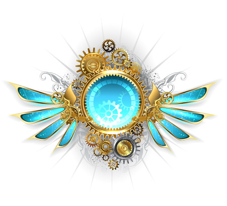 round banner with gold and brass gears, decorated with blue glass mechanical wings on a white background