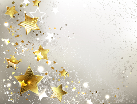 Illustration for gray textured background with gold stars. - Royalty Free Image