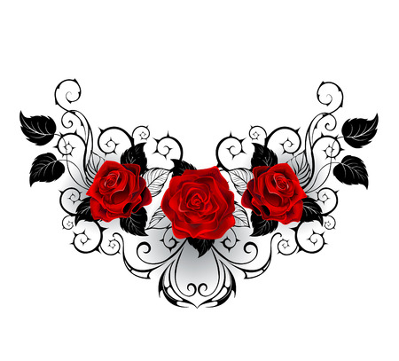 Illustration pour symmetrical pattern with red roses and black spiky stalks and black leaves on a white background. - image libre de droit