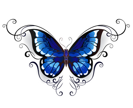 Illustration pour tattoo blue butterfly decorated with elegant pattern on a white background. - image libre de droit