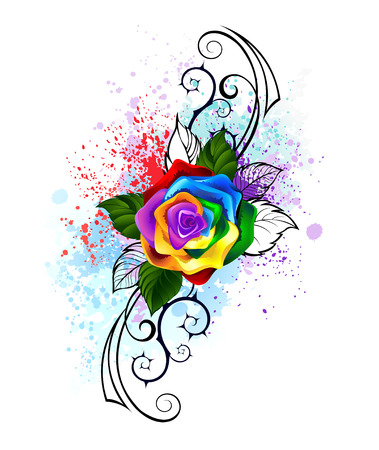 Illustration pour bright rainbow rose with spiked pattern on a white background, shaded bright splashes of paint. - image libre de droit