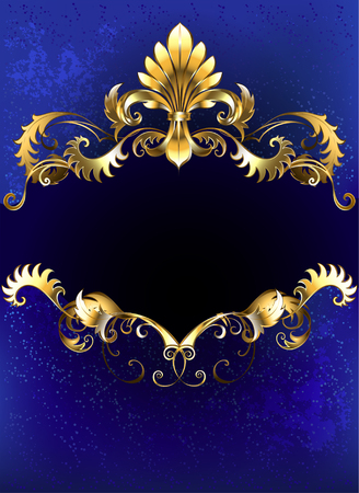 Illustration for banner decorated with luxurious golden ornament and gold Fleur de Lis on a blue background. - Royalty Free Image