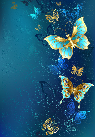 Flying gold, jewelry butterfly on blue textural background. Design with butterflies.