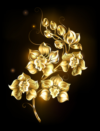 artistically painted, golden, sparkling jewelry orchid on a black background. Design with orchids