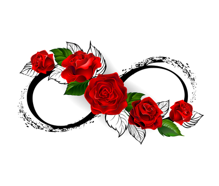 Ilustración de infinity symbol with red roses and black stalks on a white background. Design with roses. Tattoo style. Gothic style.  Tribal graphics. Style sketch. - Imagen libre de derechos