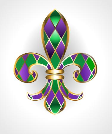 Illustration pour gold jewelry lily, decorated with green and purple diamonds on a light background.  Fleur de Lis.  Fat Tuesday.  Mardi Gras - image libre de droit