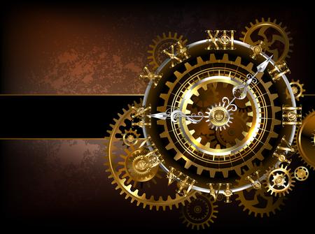 Ilustración de Antique fantastic watches with gold and brass gears on a brown rusty. - Imagen libre de derechos