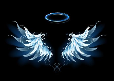 Ilustración de Light artistic blue angel wings. - Imagen libre de derechos