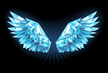 Illustration pour Polygonal, sparkling wings of blue, clear ice on a blue background. Ice wings.  - image libre de droit