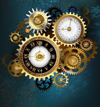 Illustration pour Two clock face with gold numbers and metal gears on turquoise background. Steampunk style.  - image libre de droit