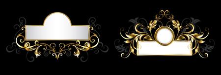 Ilustración de Two antique, ornate nameplates with patterned frame of gold and gray leaves on black background. - Imagen libre de derechos