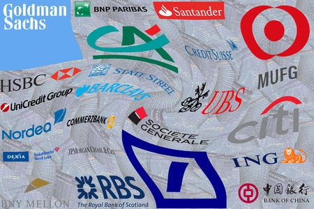 Important Banks: Illustration of  worldwide banks considered to systemically important or too big to fail