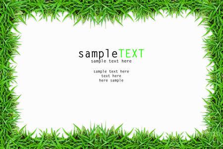 Green grass frame isolate on white