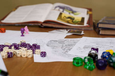 role playing game set up on table on beige