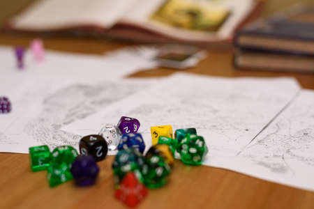 role playing game set up on table - stock photo