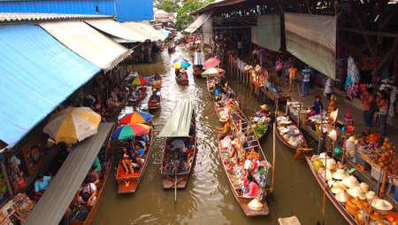 Thailand, Bangkok, wooden Thai boats at the Floating Market