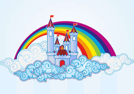 Illustration for Cartoon castle in the sky - Royalty Free Image