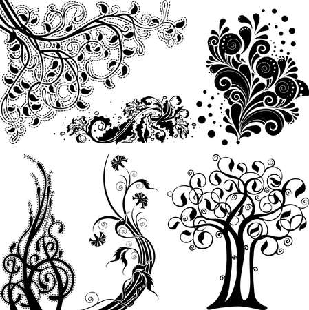 Floral ornament elements set