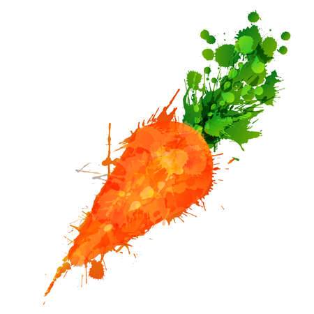 Illustration pour Carrot made of colorful splashes on white background - image libre de droit