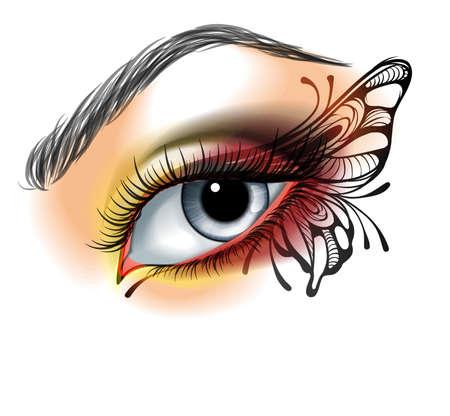 Illustration pour Eye make up with butterfly - image libre de droit