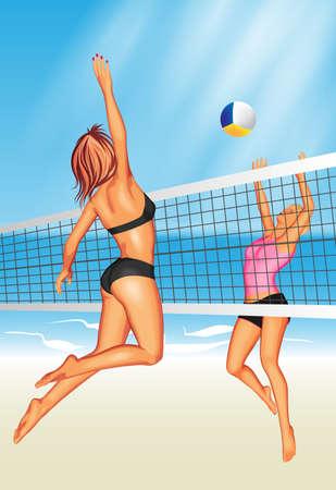 Ilustración de Two young women playing beach volleyball - Imagen libre de derechos