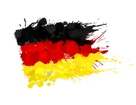 German flag made of colorful splashes
